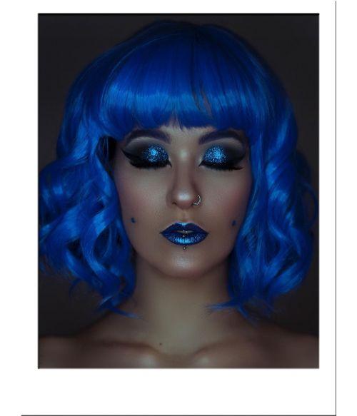 Blue Wig Short Wavy
