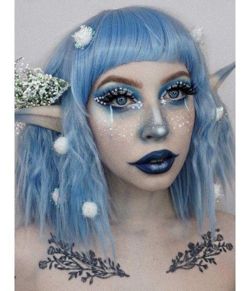 Blue Wig Wavy Bob With Bangs