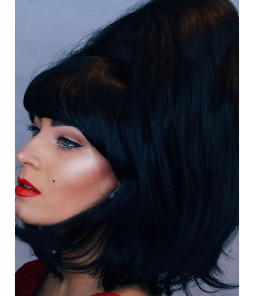 Bouffant Wig Black 60s