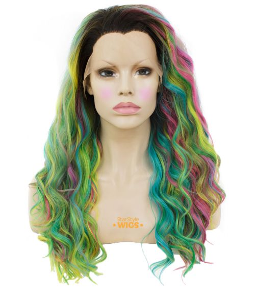 Bright Multi Coloured Lace Frontal Wig