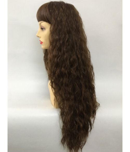 Brown Wig Curly Crimped With Bangs