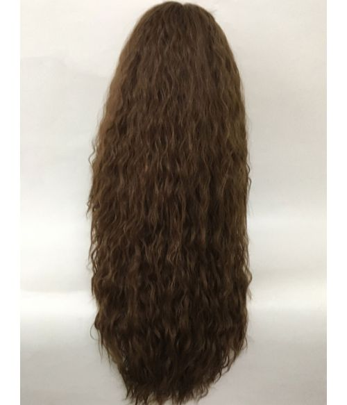 Brown Wig Long Curly Crimped