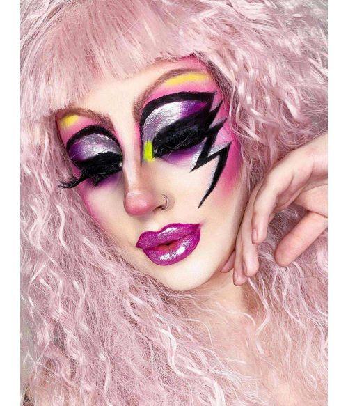 Crimped Wig 80s Pink