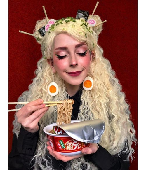 Crimped Wig Blonde Long Curly Cosplay