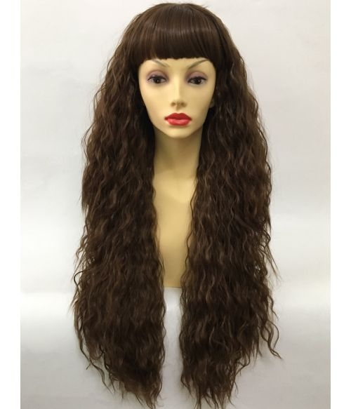 Crimped Wig Curly Brown