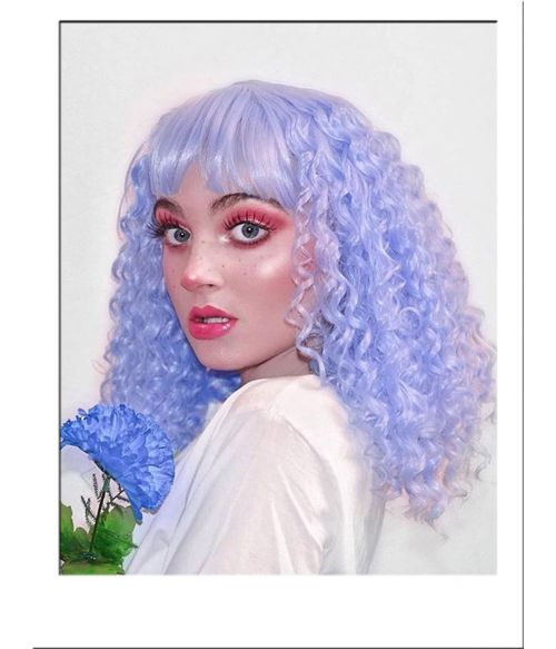 Curly Blue Wig With Bangs