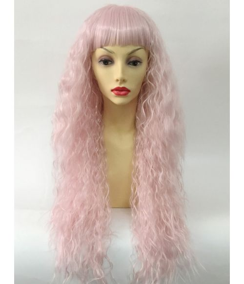 Curly Crimped Wig With Bangs Pink