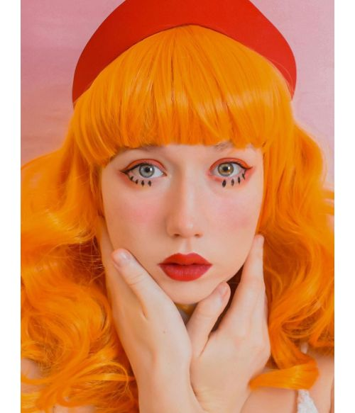 Curly Orange Wig With Bangs