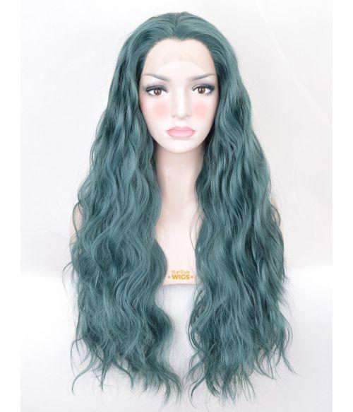 Dark Green Wig Lace Front Wavy