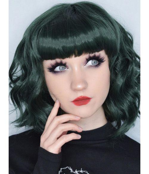 Dark Green Wig Short Wavy Bob