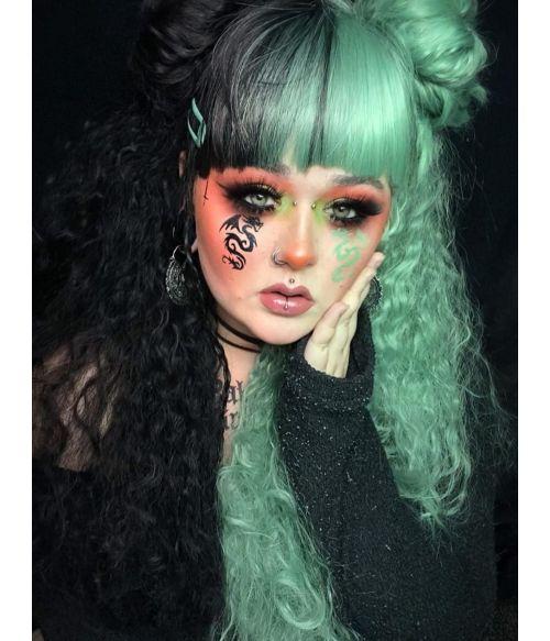 Emo Wig Green And Black Split Hair Dye