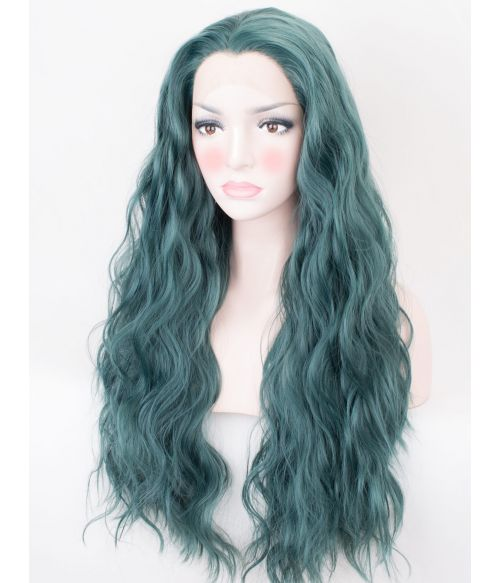 Green Wavy Lace Front Wig