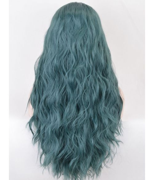 Green Wavy Lace Front Wig Long