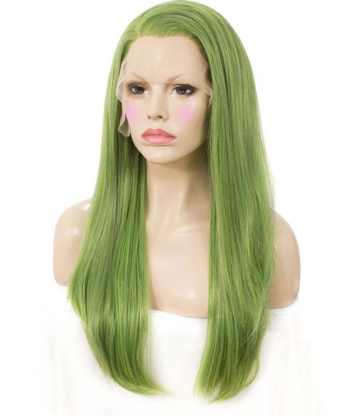 Green Wig Long Straight Lace Front