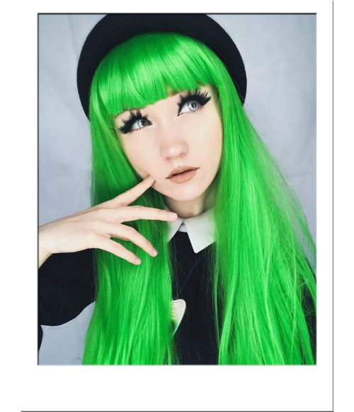 Green Wig Long With Bangs