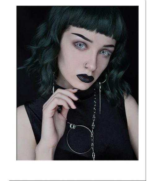 Green Wig Short Wavy Dark Green