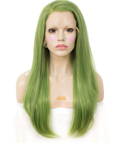 Green Wig Straight Lace Front