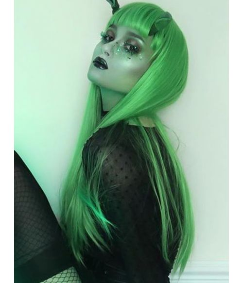 Green Wig Straight Long Goth Style