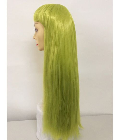 Green Wig With Bangs Straight Long