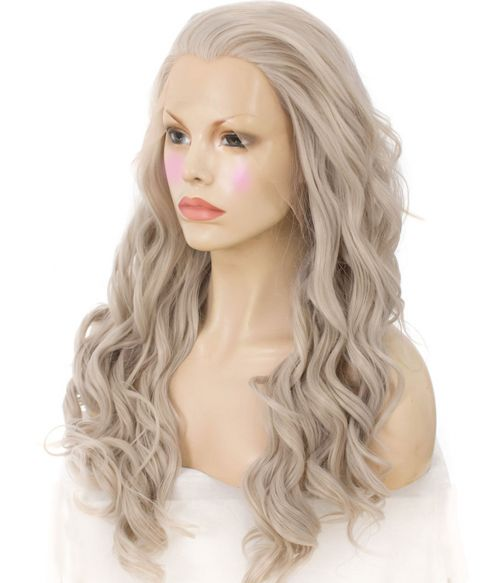 Grey Lace Front Wig Long Curly