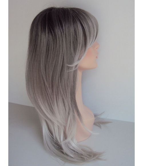 Grey Wig With Dark Roots
