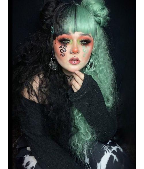 Half Green Half Black Wig