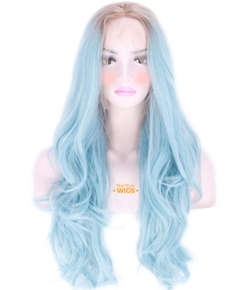 Synthetic Long Blue Lace Front Wig