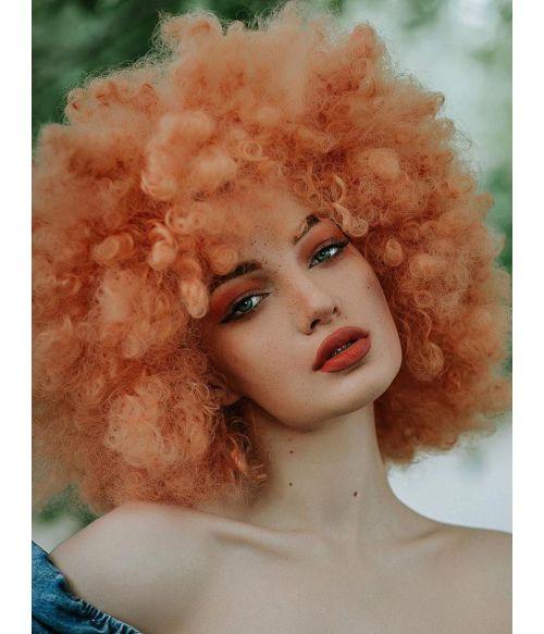 Large 70s Afro Wig Orange Peach
