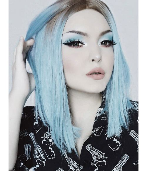 Light Blue Wig Bob Lace Front
