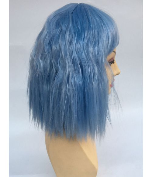 Light Blue Wig Bob With Bangs