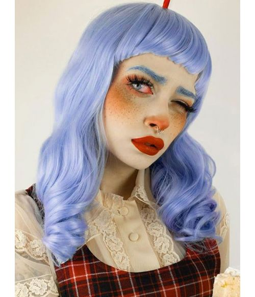 Light Blue Wig With Bangs