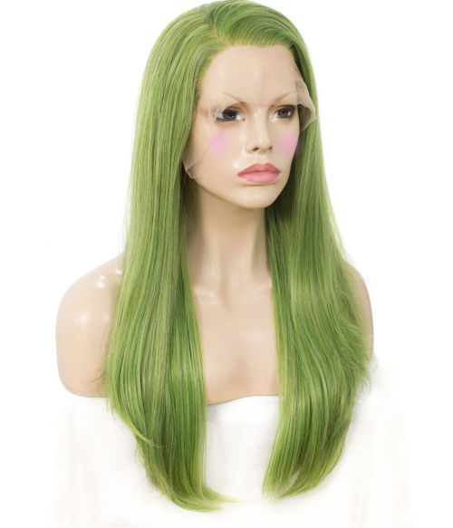 Light Green Straight Lace Front Wig