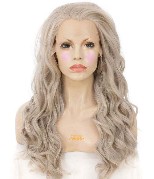 Light Grey Lace Front Wig Wavy