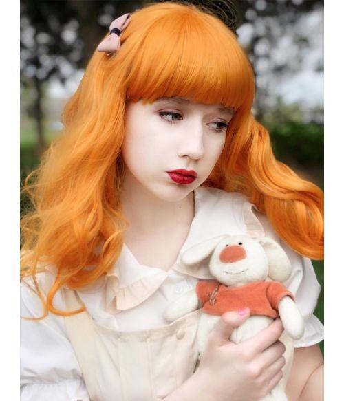 Light Orange Wig With Short Bangs