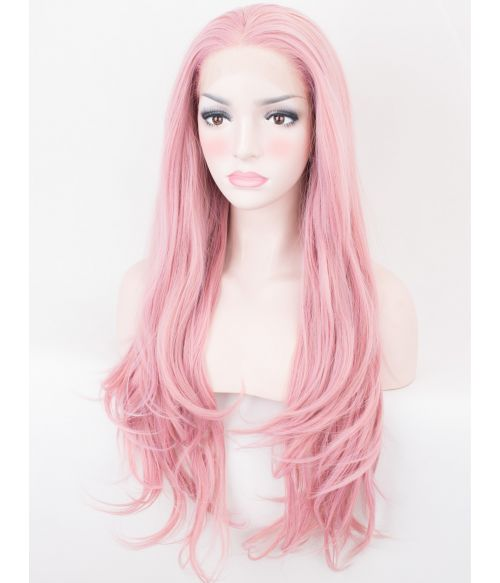 Light Pink Lace Front Wig Wavy UK
