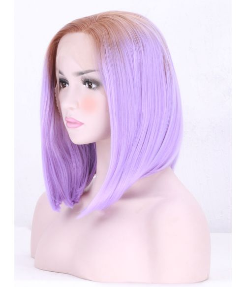 Lilac Graduated Bob Lace Frontal Wig