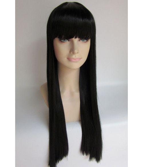 Long Black Wig Straight With Fringe