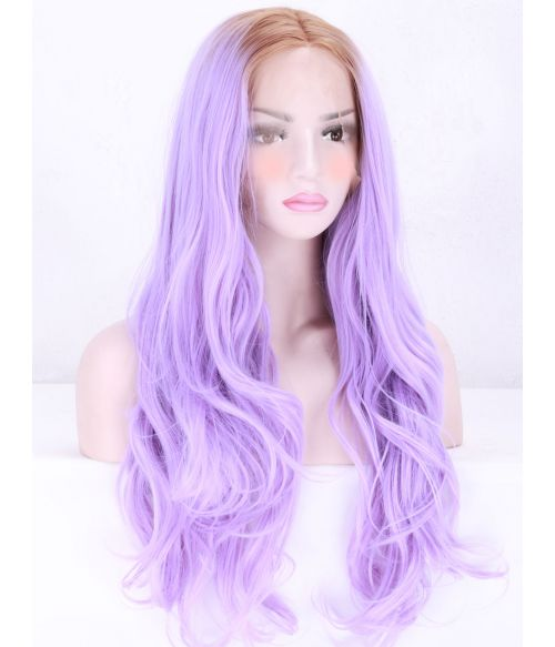 Long Lilac Lace Front Wig