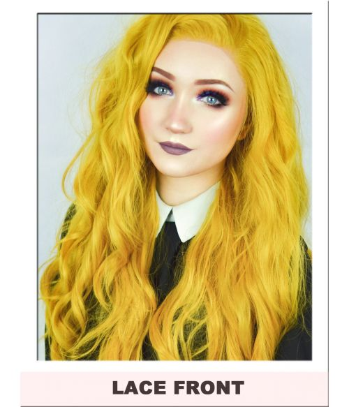 Long Mustard Yellow Lace Front Wig