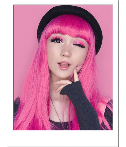 Long Pink Wig With Bangs