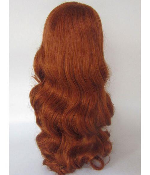 Long Red Finger Waves Wig