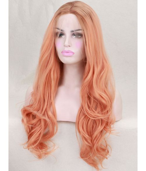 Long Wavy Peach Synthetic Lace Front Wig