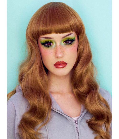Long Light Brown Wavy Wig With Bangs