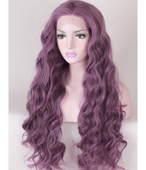Curly Purple Lace Front Wig