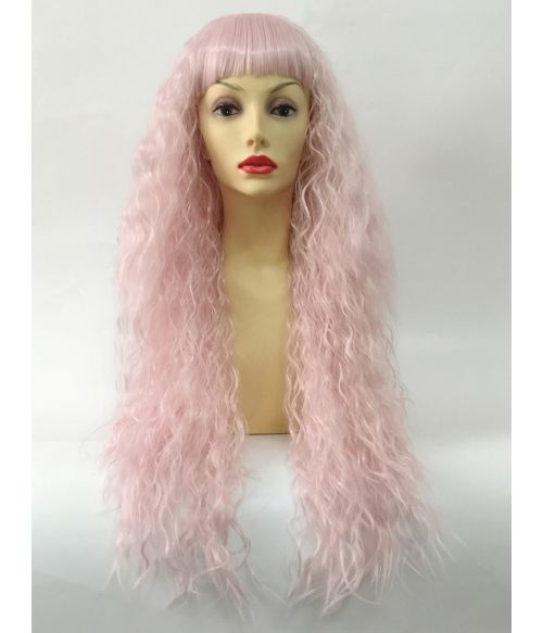 Pastel Pink Wig Curly Crimped