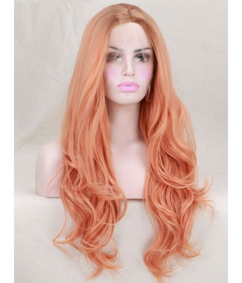 Peach Long Wavy Lace Front Synthetic Wig