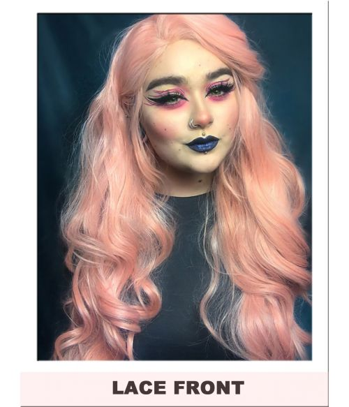 Peach Pink Lace Front Wig UK