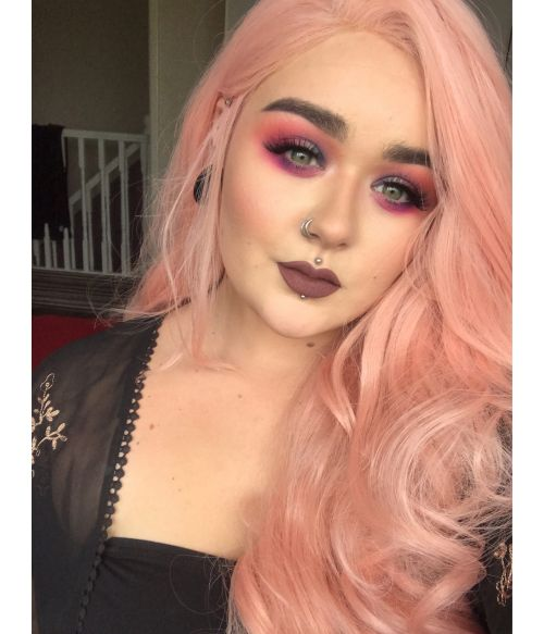 Peach Pink Wig Lace Front