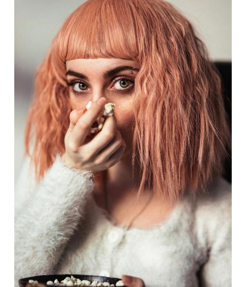 Peach Wig With Bangs