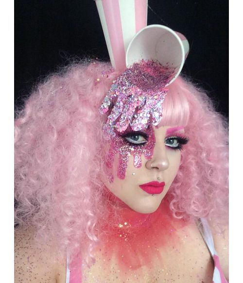 Pink Afro Wig With Bangs